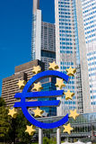 Famous blue euro sign in Frankfurt am Mein Stock Image