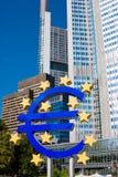 Famous blue euro sign in Frankfurt am Mein. Famous euro sign in Frankfurt am Mein stock image