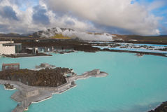 Famous Blue Lagoon Iceland. View of industry to exploit geothermal energy near the Blue Lagoon in Reykjavik Stock Photo