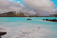 Famous Blue Lagoon Iceland. View of industry to exploit geothermal energy near the Blue Lagoon in Reykjavik Stock Photography