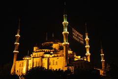 The famous Blue Mosque in Istanbul is also called Sultanahmet at night. Turkey. Royalty Free Stock Photography