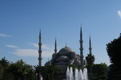 Famous Blue Mosque - Sultan-Ahmet-Camii as seen from the Fountain in the Park, in Istanbul, Turkey Royalty Free Stock Photos