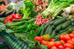 Famous Boceria market in Barcelona, Spain. Vegetables Stock Photos
