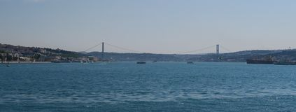 Famous Bosphorus Bridge and Strait with Ships, as seen from the European Side of Istanbul, in Turkey Royalty Free Stock Photos