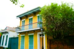 Famous Bourbon Street, New Orleans, Louisiana. Old mansions in the French Quarter of New Orleans stock photos
