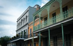 Famous Bourbon Street, New Orleans, Louisiana. Old mansions in the French Quarter of New Orleans stock photography