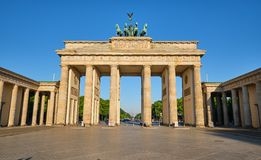 The famous Brandenburg Gate in Berlin. In front of a clear blue sky stock photos