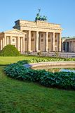 The famous Brandenburg Gate in Berlin. With a small pond royalty free stock photography