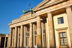 The famous Brandenburg Gate in Berlin. After sunrise stock photos