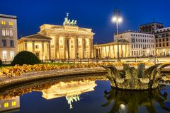 The famous Brandenburger Tor in Berlin at night stock photo