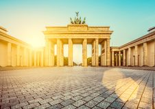 Brandenburg Gate at sunrise, Berlin, Germany sunrise, Berlin, Ge stock image