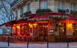The famous brasserie de l`Ile Saint-Louis decorated for Christmas, Paris, France. Paris, France-December 17, 2016 : The famous brasserie de l `Ile Saint Louis Stock Images