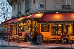 The famous brasserie de l`Ile Saint-Louis decorated for Christmas, Paris, France. Paris, France-December 17, 2016 : The famous brasserie de l `Ile Saint Louis Royalty Free Stock Images