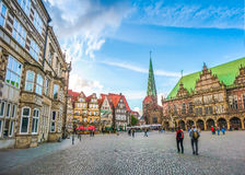 Famous Bremen Market Square in the Hanseatic City Bremen, Germany. Ancient Bremen Market Square in the centre of the Hanseatic City of Bremen with view on famous Royalty Free Stock Photos