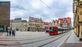 Famous Bremen Market Square with tramway in Bremen, Germany Royalty Free Stock Photos