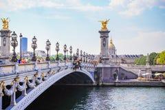 Famous Bridge of Alexandre III stock images