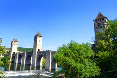 Famous bridge of Cahors over Lot River Stock Images