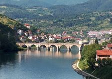 A famous bridge on the Drina River stock images