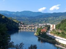 A famous bridge on the Drina River stock photography