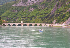 Famous bridge on the Drina in Visegrad, Bosnia and Herzegovina, stock photo