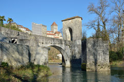 Famous bridge in the French town Sauveterre-de-Bearn Stock Images