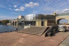 The famous bridge and granite embankment of the Moscow River on a clear sunny day Royalty Free Stock Photography