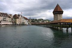 Famous bridge in Lucerne in a beautiful summer day, Switz stock images