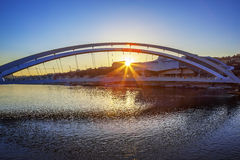 Famous bridge in Lyon at sunset Royalty Free Stock Images