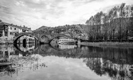 Famous Bridge in Montenegro. Power of nature , montenegro river and lake skadar with bridge on Rijeka Crnojevica Stock Images