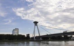 Famous Bridge Novi Most from Bratislava in Slovakia Stock Image