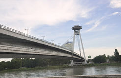 Famous Bridge Novi Most from Bratislava in Slovakia stock photography