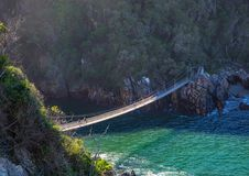 Famous bridge over Storms River Mouth at the Indian Ocean Royalty Free Stock Image