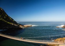Famous bridge over Storms River Mouth at the Indian Ocean. In South Africa Stock Image
