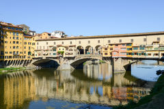 Famous bridge of Ponte Vecchio in Florence on Italy Stock Images