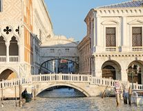 Famous bridge of sighs in Venice in Italy and the waterway Stock Images