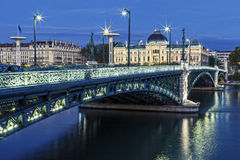 Famous bridge and University in Lyon Stock Photo