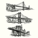Famous bridges. Hand drawn set vector illustration