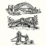 Famous bridges. Hand drawn set stock illustration