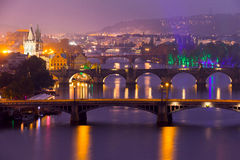 Famous Bridges of Prague in the Evening Stock Photo