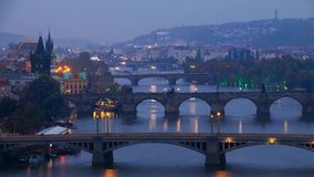 The Famous Bridges of Prague in the Evening. Time Lapse 4K stock video footage