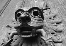 The famous bronze Sanctuary Knocker on the North Door of Durham Cathedral. A welcome sight to medieval miscreants, a sanctuary knocker, once touched, guaranteed Royalty Free Stock Image