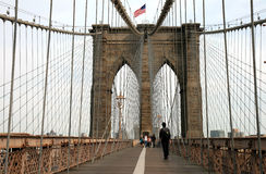 The famous Brooklyn Bridge. On the East River in lower Manhattan stock images