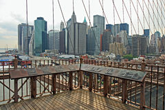 The famous Brooklyn Bridge. On the East River in lower Manhattan royalty free stock photos
