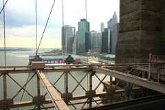 The famous Brooklyn Bridge. In lower Manhattan NYC stock photo
