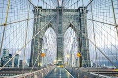 On the famous Brooklyn Bridge. NYC Stock Photo