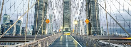 On the famous Brooklyn Bridge Stock Images