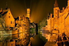 Famous Bruges by night Royalty Free Stock Photos