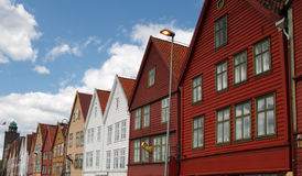 The famous Bryggen in Bergen, Norway. Colorful wooden houses. UNESCO World Heritage Site Stock Image