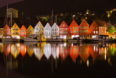 Famous Bryggen street in Bergen - Norway Royalty Free Stock Photography