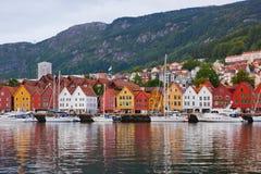 Famous Bryggen street in Bergen - Norway Royalty Free Stock Photos